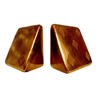 "Brass Ben Seibel ""Five of Diamonds"" Bookends- Pair"