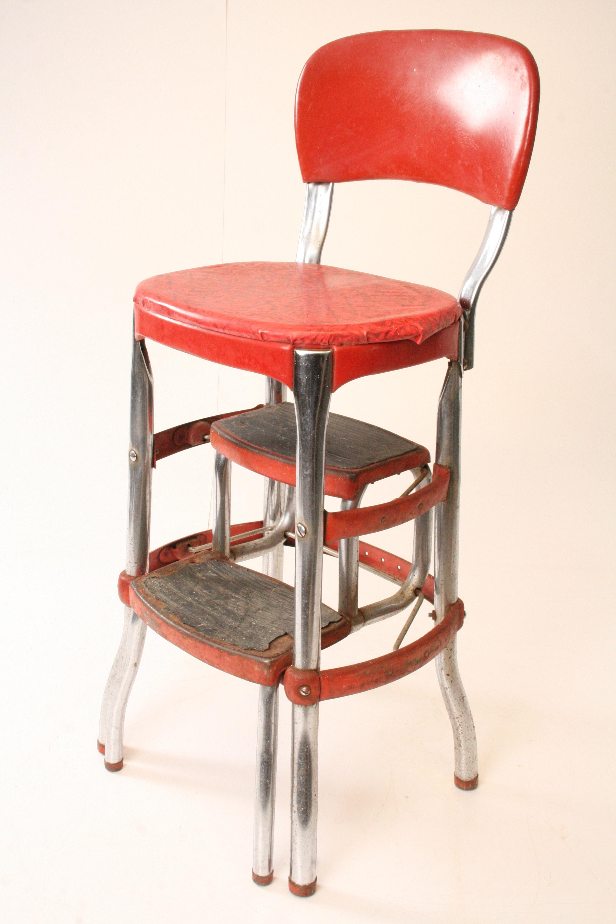 Cosco Mid Century Red Metal Step Stool Chairish
