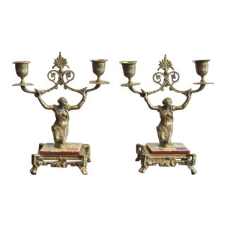 Early 19th C English Regency Bronze Candlesticks
