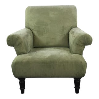 Contemporary Green Suede Upholstered Armchair