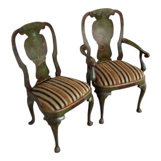 Emerald Green Chairs With Landscape Motif - Pair
