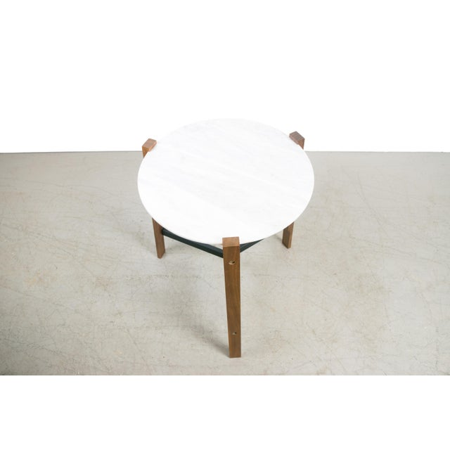 Minimalist Modern Teak and White Marble Side Table - Image 2 of 8