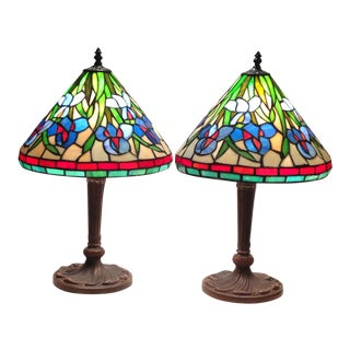 Floral Iris Stained Glass Lamps - A Pair