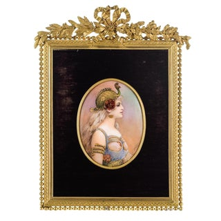 French Enamel Plaque with Gilt Bronze Frame