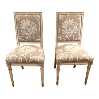 French Style Painted & Upholstered Side Chairs - A Pair