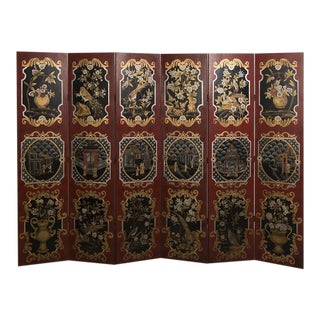 Vintage Chinese Hand-Painted Six Panel Screen Depicting Different Birds and Scenes on Each Panel