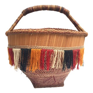Vintage Round Handled Basket With Colorful Fringe