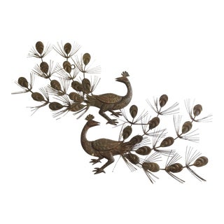 Vintage Brass Tone Peacock Wall Art - Pair