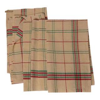 "French Holiday Plaid Linen Metis ""Fleur Bleue"" Tea Towels - Set of 6"