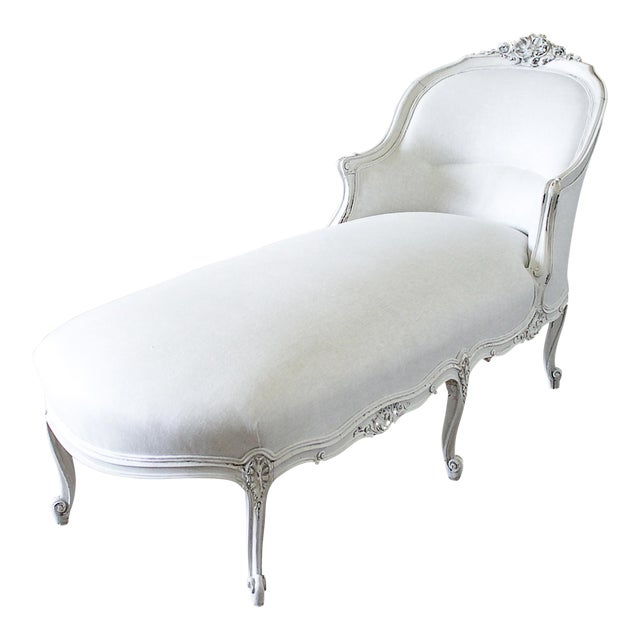 19th Century Carved and Painted Walnut Chaise Longue in Belgian Linen - Image 1 of 6