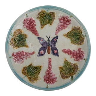 Majolica Butterfly & Grape Wall Plate