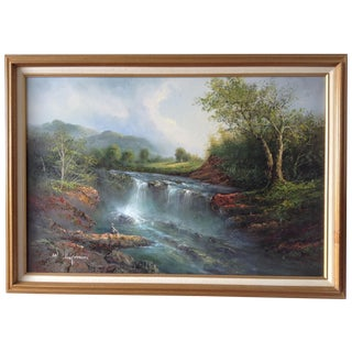 Scenic Waterfall Landscape Painting