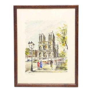 """Montmarte"" Original Watercolor by G. Lelong"