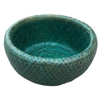 Vintage Teal Bamboo Basket