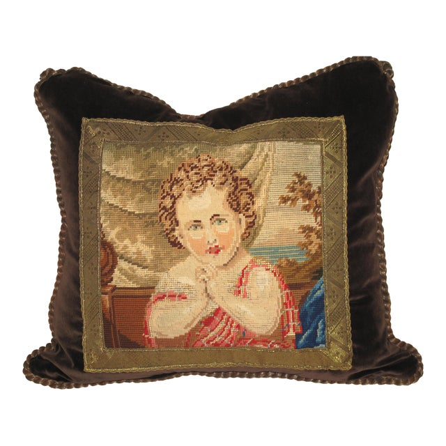 19th C Needlepoint Tapestry Portrait of Child Pillow - Image 1 of 7