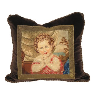 19th C Needlepoint Tapestry Portrait of Child Pillow
