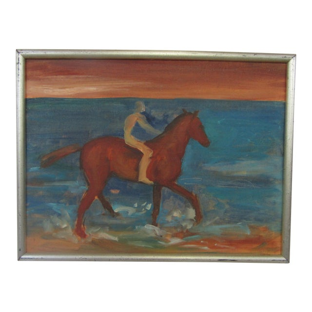 1950's Oil on Board Horseman by the Sea - Image 1 of 4