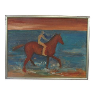 1950's Oil on Board Horseman by the Sea