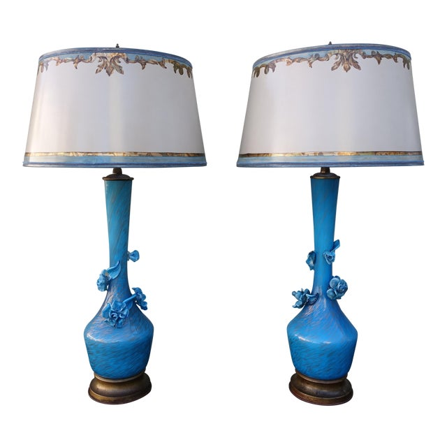 Turquoise Murano Glass Lamps - A Pair - Image 1 of 9