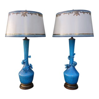 Turquoise Murano Glass Lamps - A Pair