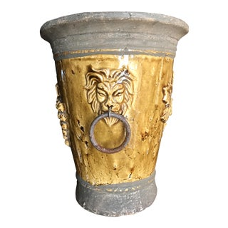 Glazed Stone Lion Head Planter Jardiniere Urn