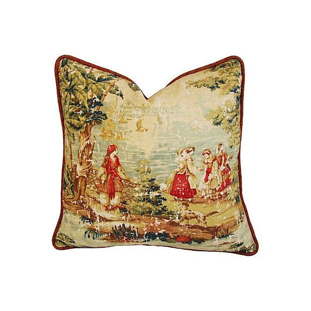 Vintage Custom Renaissance Toile Pillows - A Pair - Image 2 of 7