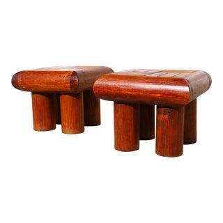 1960's Artisan Log Side Tables - A Pair