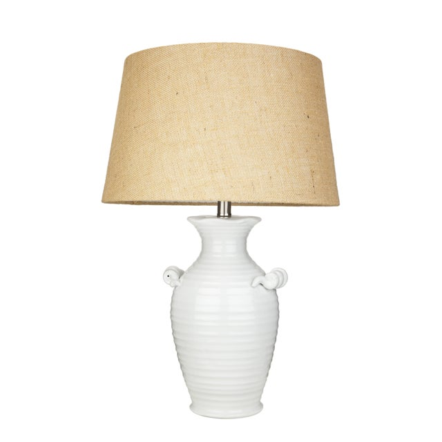 Image of Ribbed White Ceramic Urn Table Lamp