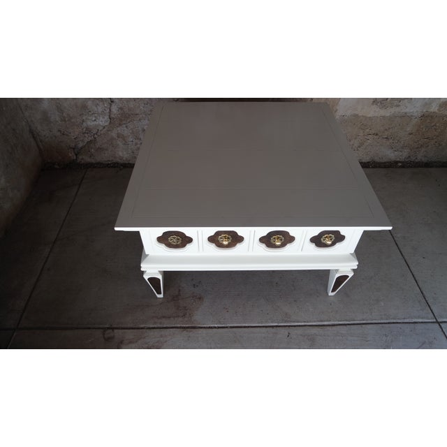 White Vintage Regency Coffee Table With Drawers Chairish