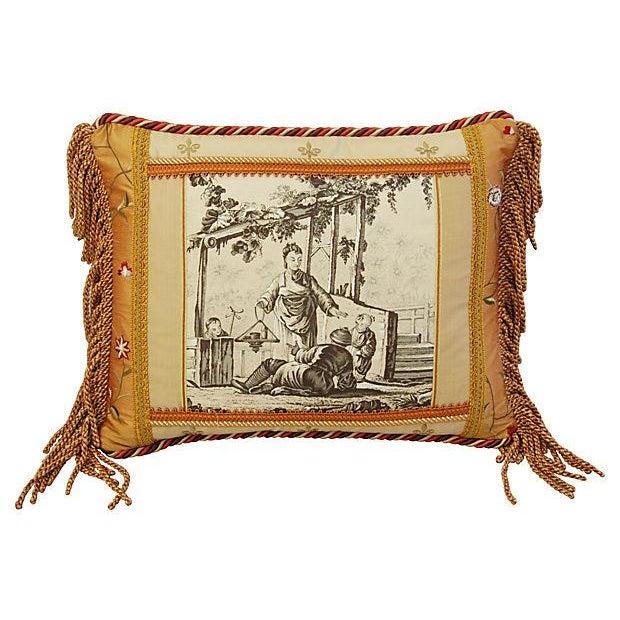 Designer Brunschwig Fils Toile Silk Accent Pillow - Image 2 of 5