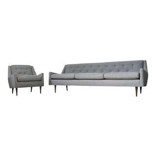 Dunbar Thin Leg Sofa & Chair Set - A Pair