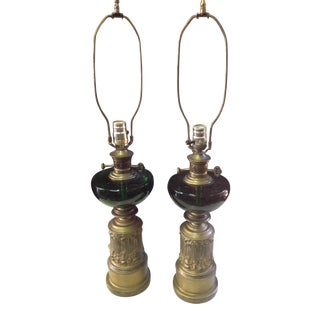 Hollywood Regency Style Lamps - A Pair
