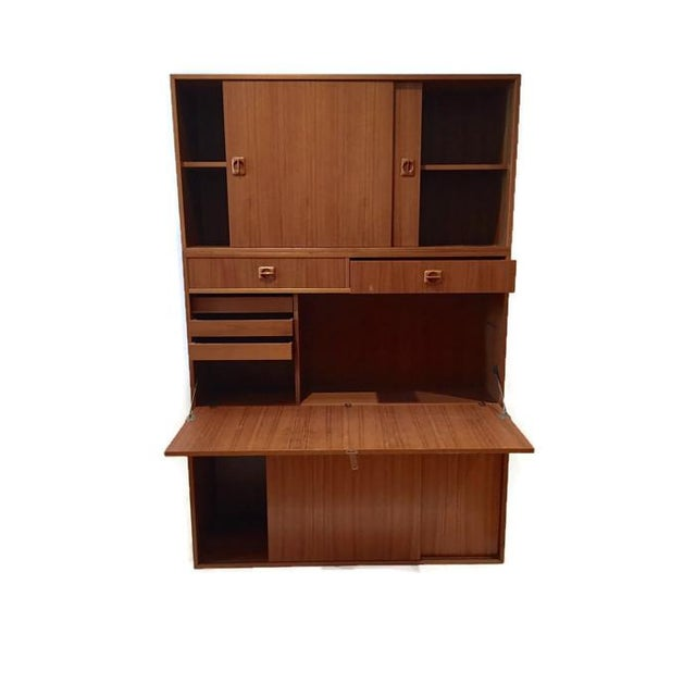 Image of Mid Century Teak Modular Wall Unit Desk or Bar