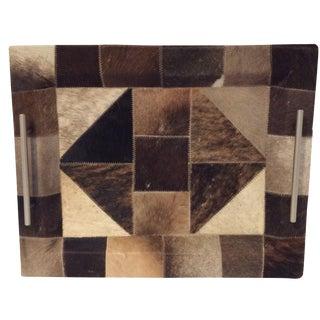 Geometric Pattern Cowhide Tray