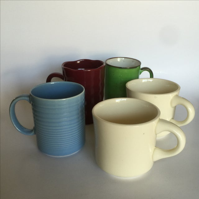 Image of Vintage Stoneware Diner Mugs - Set of 5