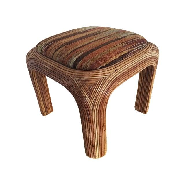 Vintage Boho Upholstered Rattan Ottoman - Image 1 of 7