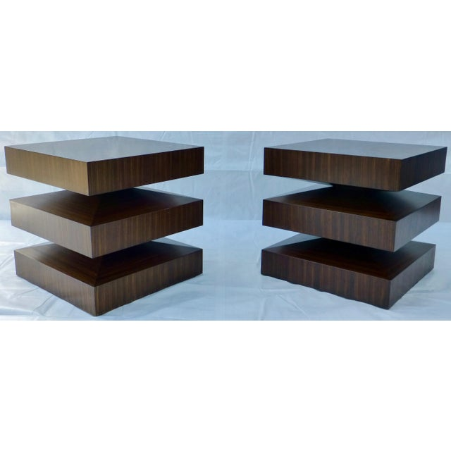 Danish Modern Cubist Stacked Rosewood End Tables- A Pair - Image 2 of 11