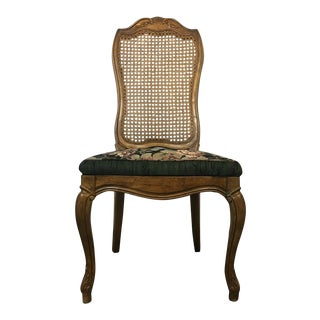 Vintage Maple & Cane, Floral Upholstered Side Chair