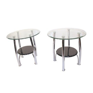 Modern Chrome & Glass Side Tables - A Pair