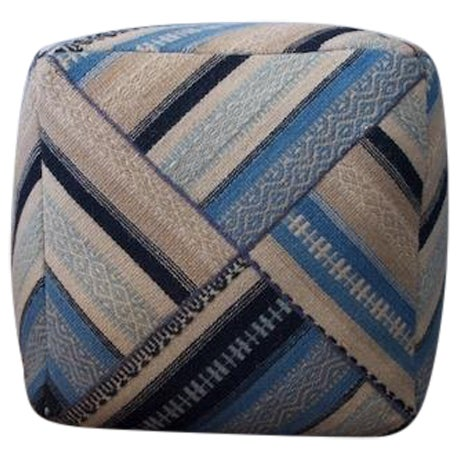 Geometric Blue Wool Cube Ottoman - Image 1 of 4
