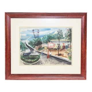 Mid-Century Theme Park Watercolor