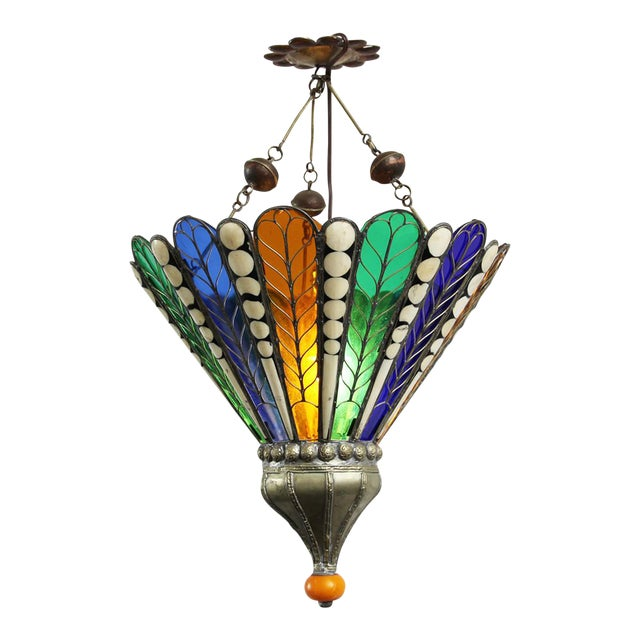 Moroccan Brass & Glass Lantern - Image 1 of 4