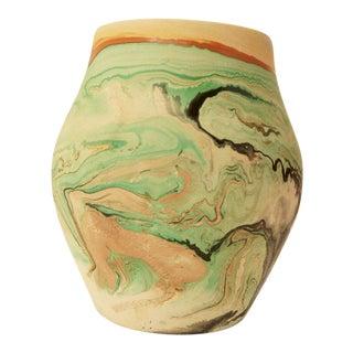 Green, Black and Tan Vintage Nemadji Pottery Vase