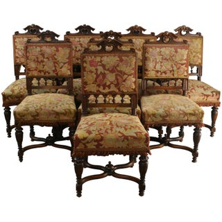 Antique Henry II-Style Dining Chairs - Set of 8