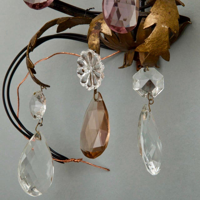 Italian Two-Light Tole & Crystal Sconces - A Pair - Image 5 of 9