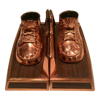 Vintage Copper Baby Shoe Bookends - A Pair