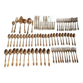 Gold Stainless Continental Flatware - Set of 75