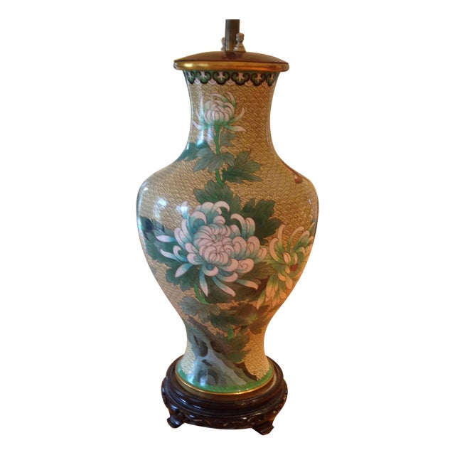 Image of Ornate Vintage Lamp with Floral Butterfly Design