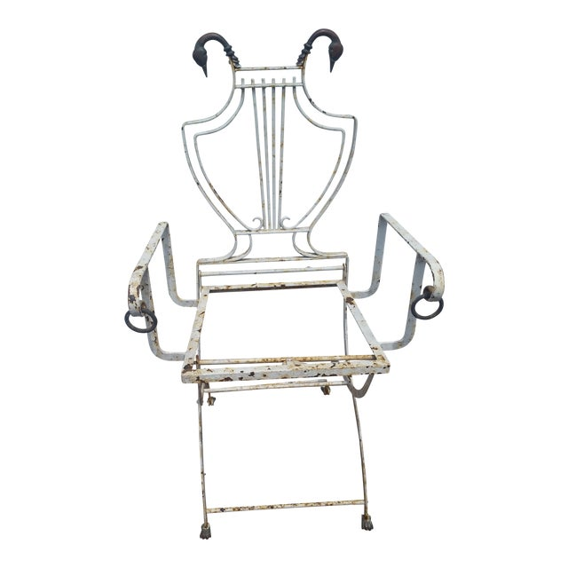 Antique Cast Iron Brass Duck Accent Folding Chair - Image 1 of 10