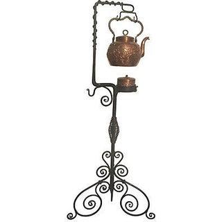"Antique Copper Tea Kettle W/ Iron Stand 46""h"